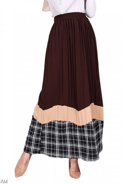 Half Checkered Pleated Long Skirts [S11412]