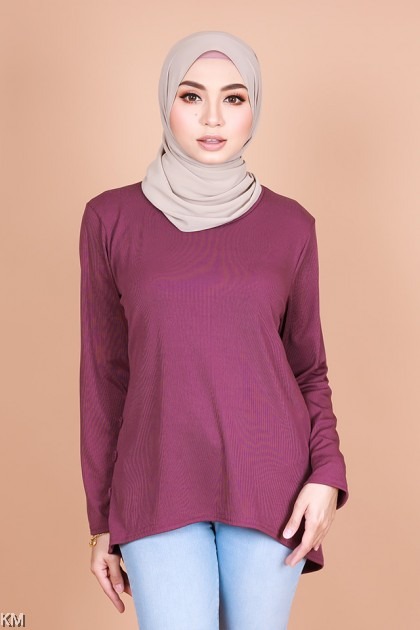 Qusarah High Low Basic Blouse [B11479]