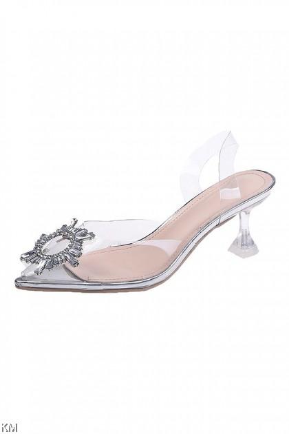 Tiara Crystal Transparent Pointed Heels [SH33322]