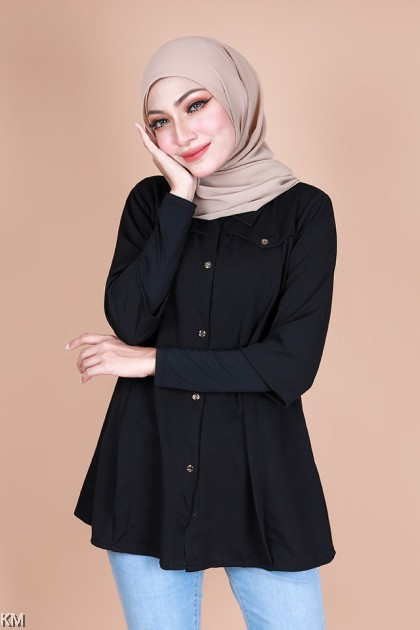 Lessa 3/4 Sleeves Collar Button Blouse [B10319]