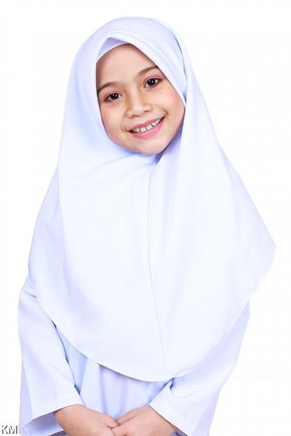 White School Tudung [M19389]
