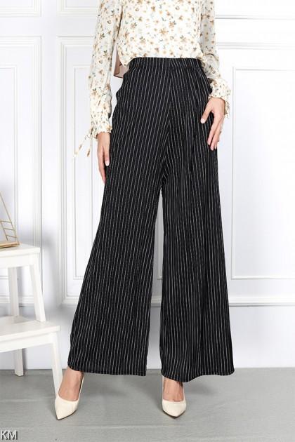 Striped Plus Size Elastic Palazzo Pants [P33261]