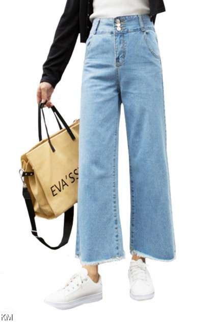 Size 26-36 Loose Wide Leg High Waist Denim Jeans [P34111]