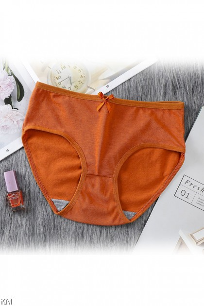 Solid Bowknot Breathable Panties [L34186]