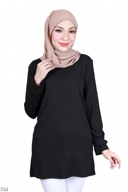 Tharaa Solid Long Muslimah Blouse [B34184]