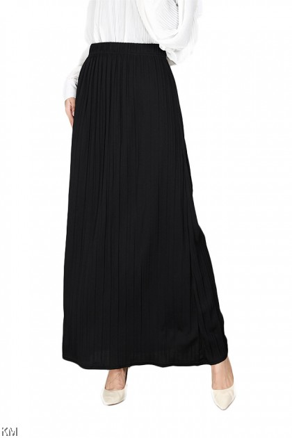 Plain Pleated Maxi Long Skirt [S34066]
