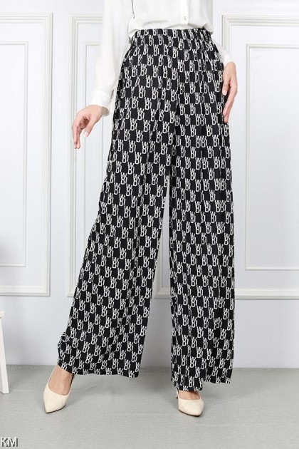 Super Plus Size Pleated Printed Palazzo Pants [P30623]