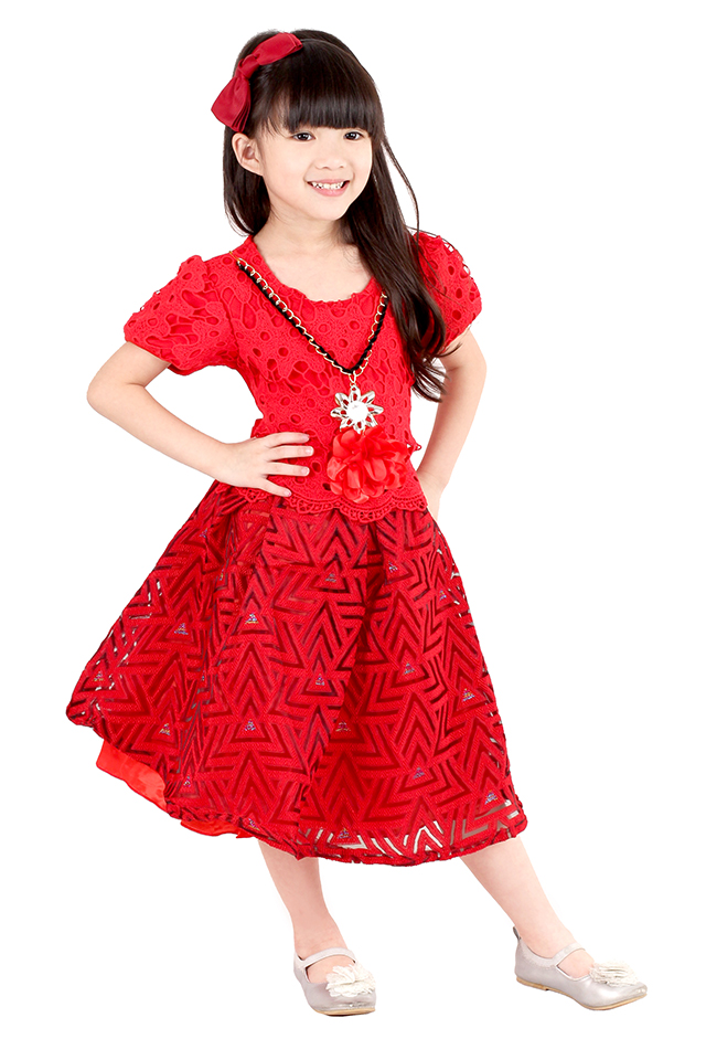 Kids Funnel Party Dress [M18173]