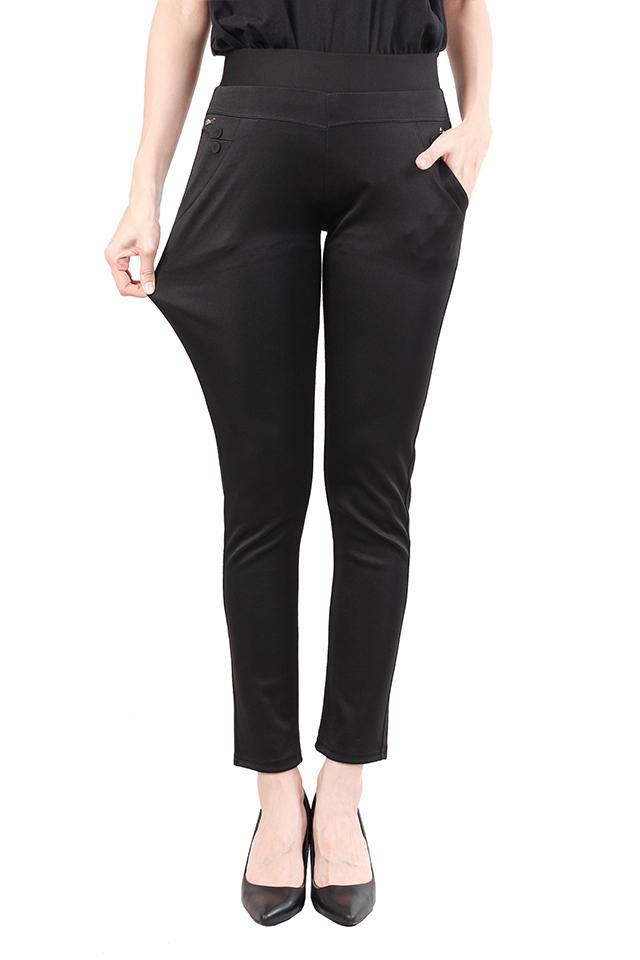 Women Black Elastic Trouser [M12147]