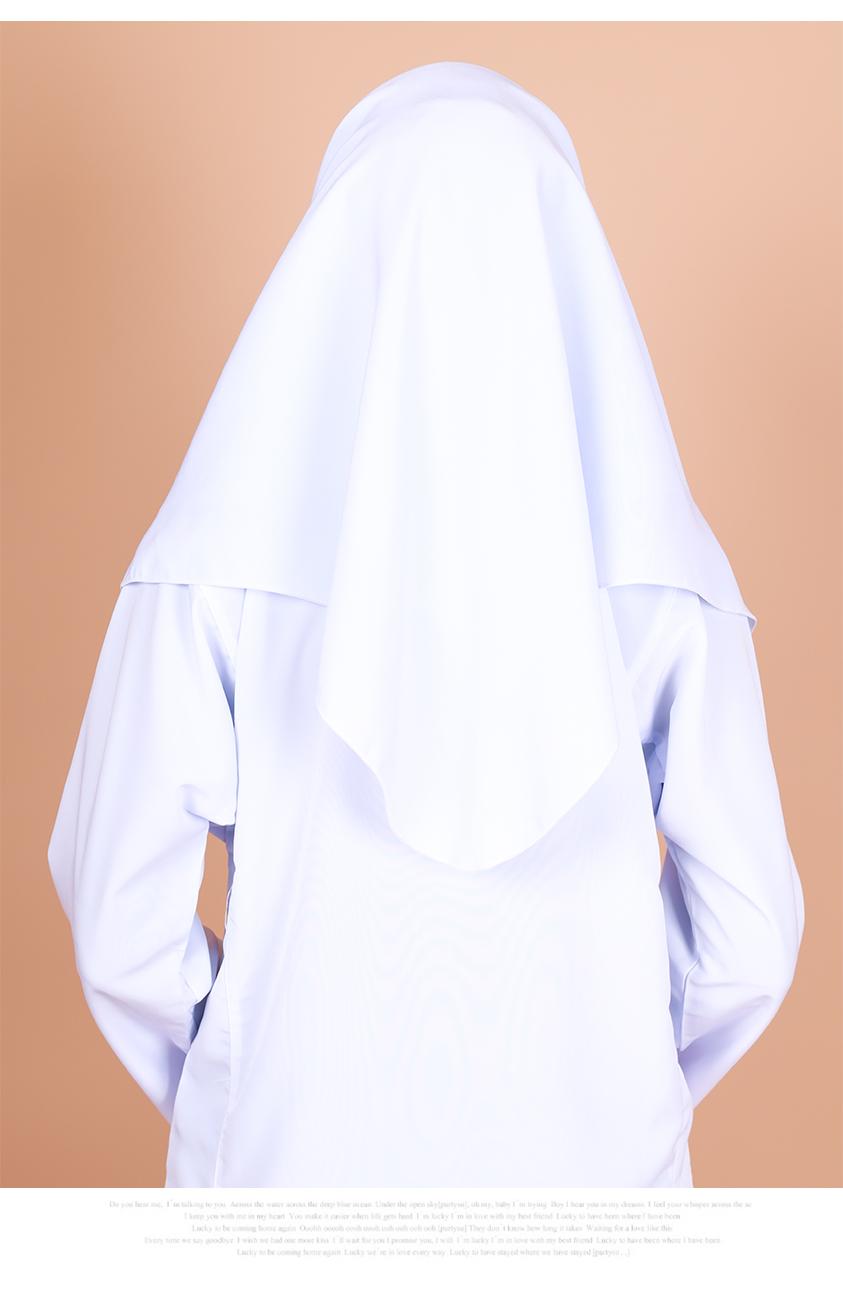 White School Tudung [M19389-A]