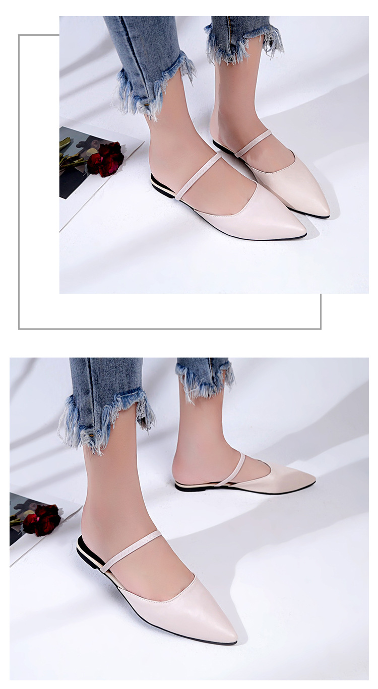 Pointed Leather Slip On Sandals [SH1061]