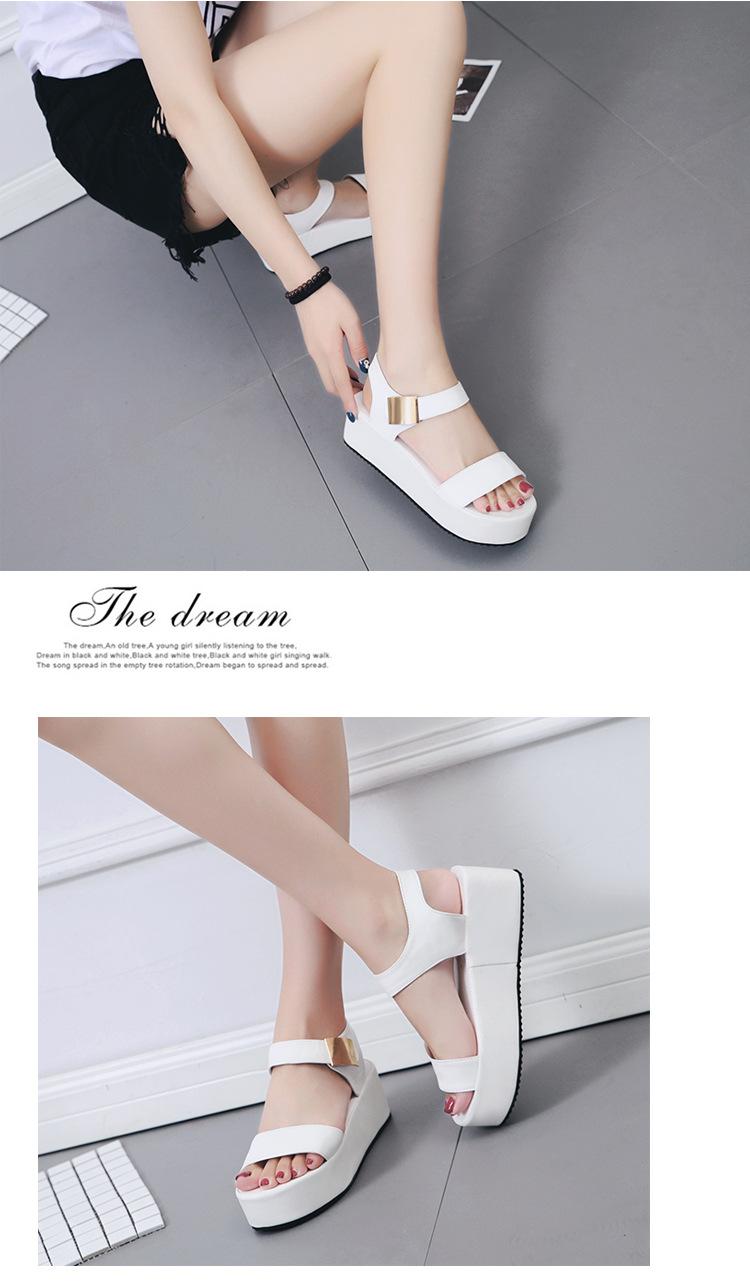 Metal Plat Thick Heels Velcro Wedges [SH27728]
