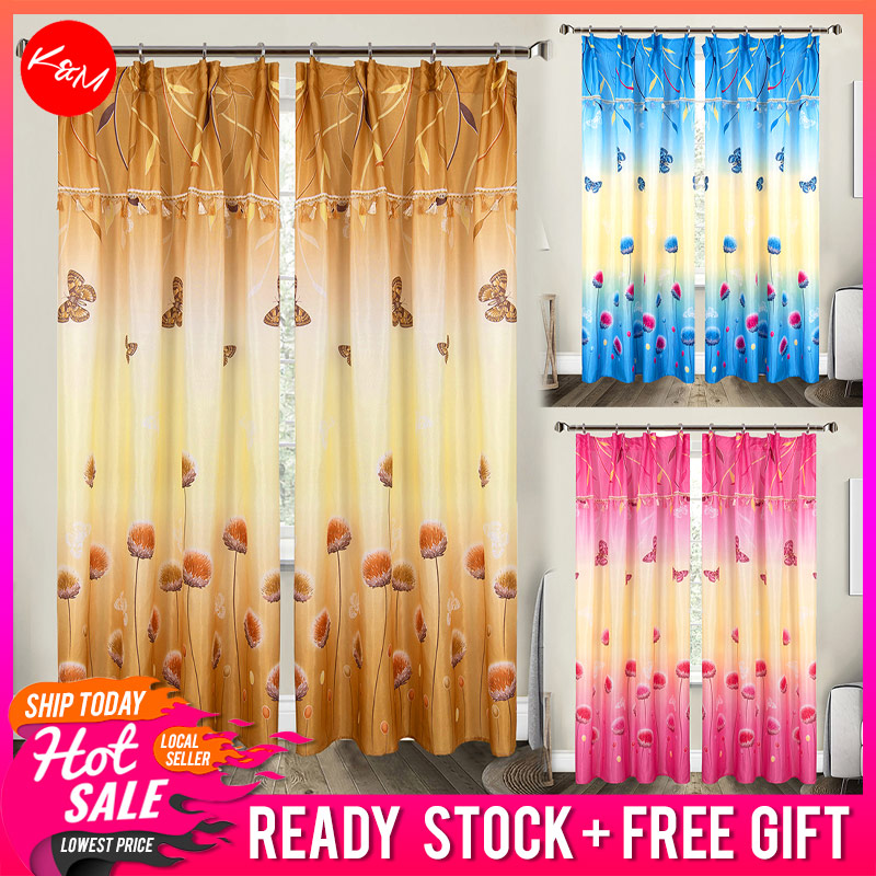 1 to 2pcs Dahlia Nature Curtain [H1690]