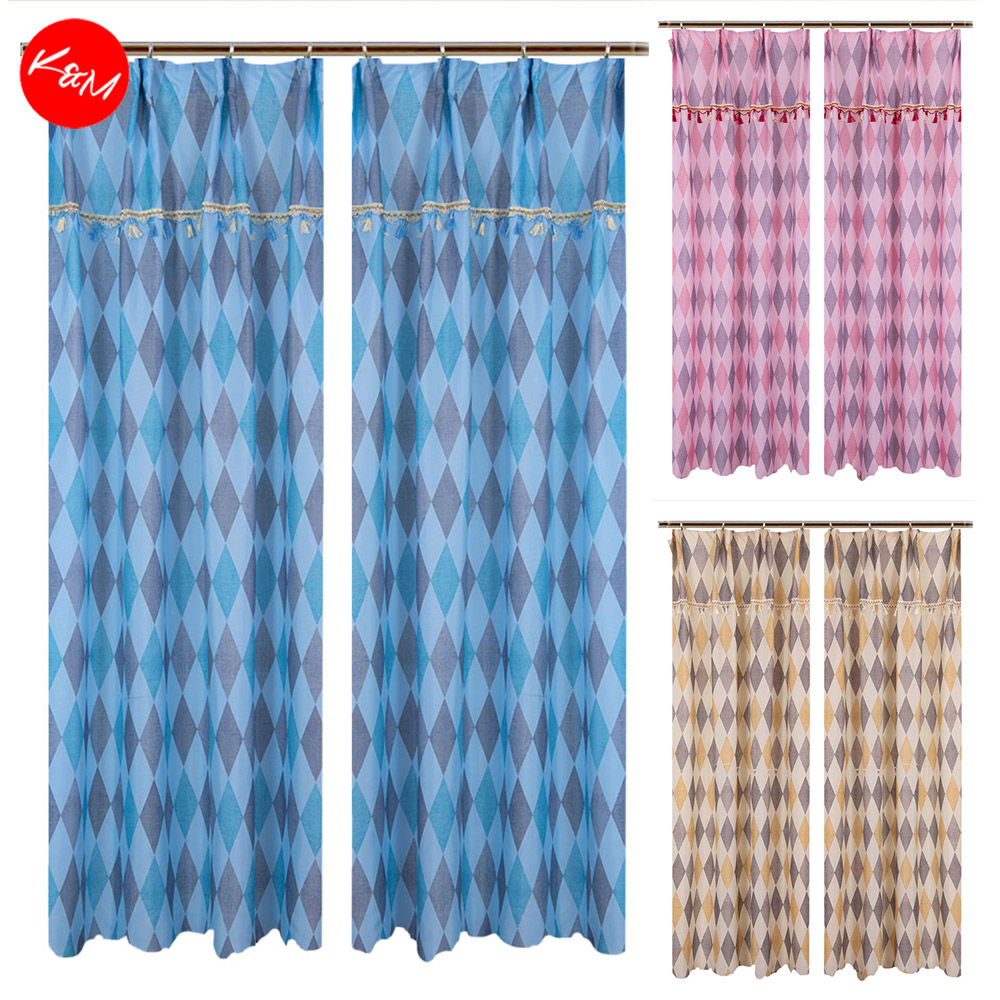 1 to 2pcs Rhombus Geometric Curtain [H1695]