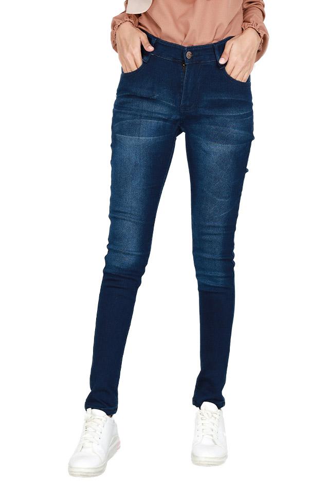 Size 27-40 Elastic Slim Fit Blue Jeans [J29237]