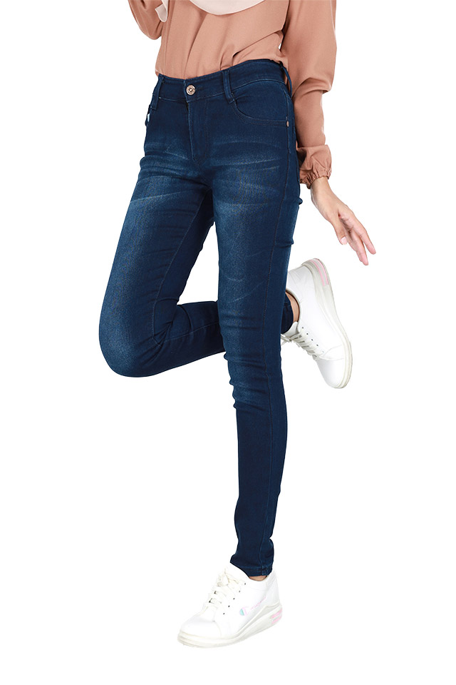 Size 27-40 Elastic Slim Fit Blue Jeans [J29237]