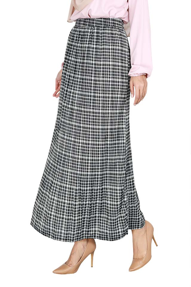 Checkered Printed Long Skirt [S29257]