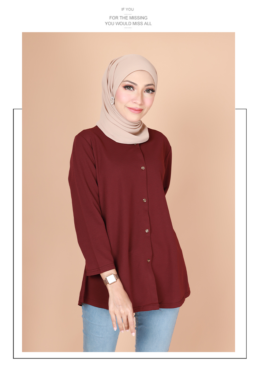 Nafisa Front Button Plain Fashion Blouse [B31228]